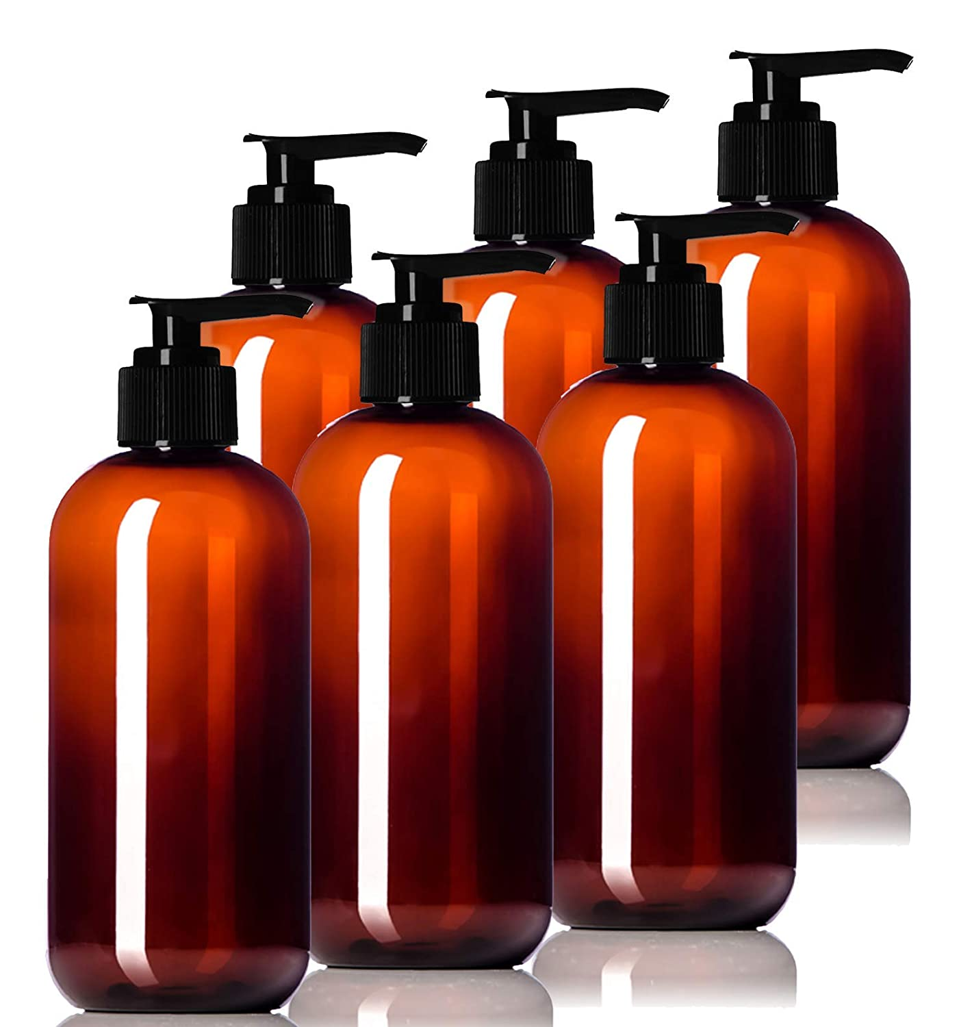 8oz Plastic Amber Bottles (6 Pack) BPA-Free Squeeze Containers with Pump Cap, Labels Included