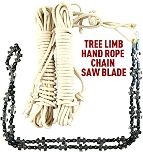 Meshin 48 Inch High Reach Tree Professional Hand Rope Chain Saw Cutter on Both Side Outdoor Tool Hand Rope Chain Saw Survival for Camping Hiking Fast Tree Cutting