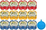 Nutro Wild Frontier Perfect Portions High Protein Grain Free Cat Food Pate in 3 Flavors - Chicken/Beef, Turkey/Duck, & Salmon/Trout - 12 Twin Packs, 2.64 Oz Each + Silicone Can Cover - 13 Items Total