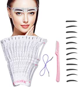 Eyebrow Stencil,12 Pcs Reusable Eyebrow Template With Strap, Eyebrow Shaping Kit Washable Eyebrow Assistant Tool,Eyebrows Grooming Stencil Kit Eyebrow Drawing Guide Card Microblading Template & 1 Rozor