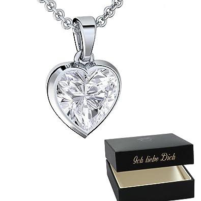 Herzkette Silber 925 Kette Damen Halskette ❤ Zirkonia Stein Geschenk Etui  mit Gravur Echt Anhänger Herz Silberkette Schmuck Frau Frauen Freundin  klein ... 0d00e0cc0a