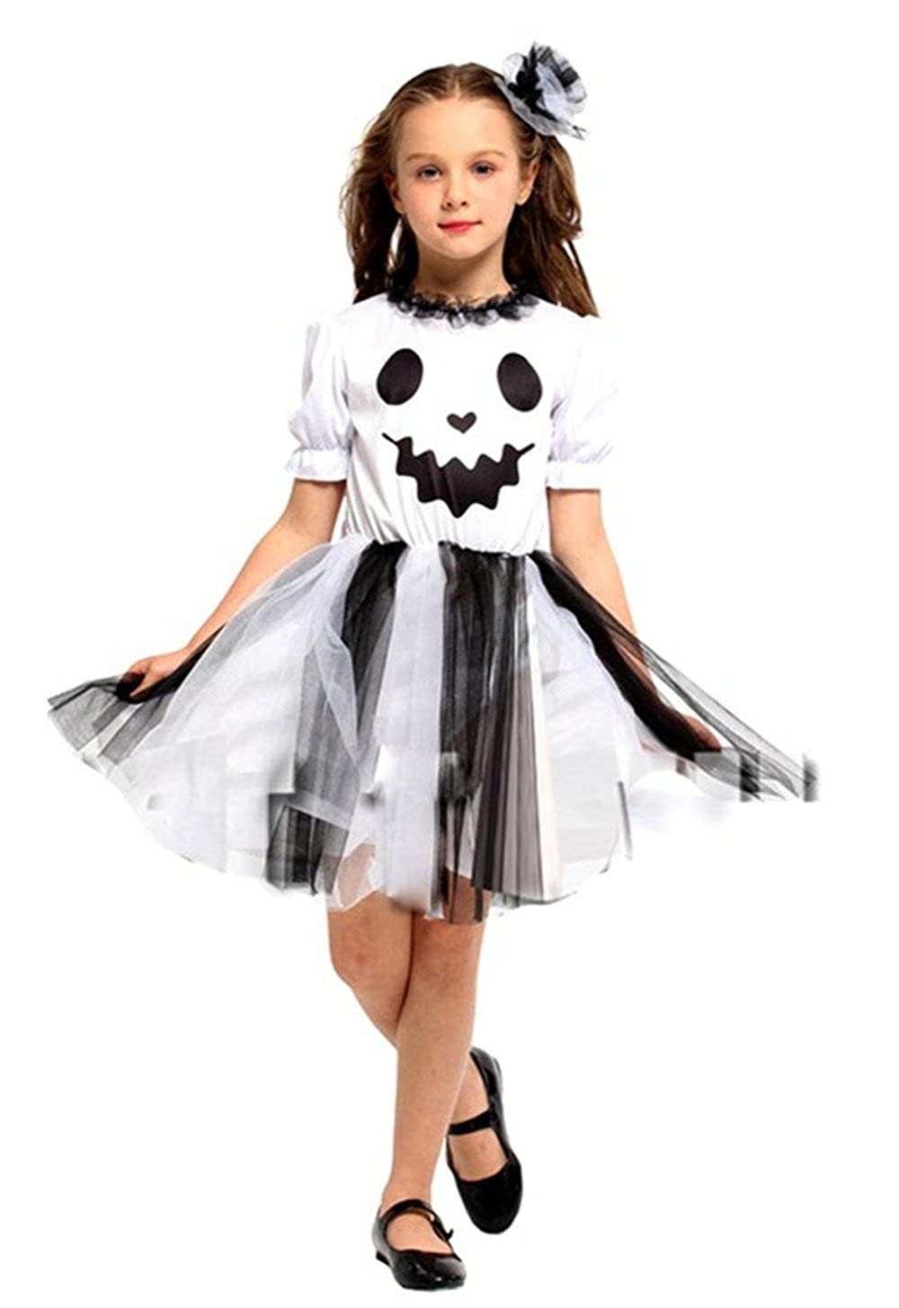 Seipe Girls Halloween Ghost Costume Set Cute Elf Outfits 2 Pieces Halloween Costumes