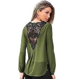 DKmagic Women Chiffon Lace Crochet Long Sleeve Tops Casual Blouse Shirt (M, Green)