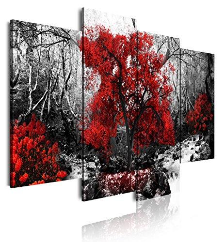 DekoArte-273-Cuadros-Modernos-Impresion-de-Imagen-Artistica-Digitalizada-Lienzo-Decorativo-para-Salon-o-Dormitorio-Estilo-Paisaje-Blanco-y-Negro-con-Arboles-Rojos-Naturaleza-4-Piezas-120x90cm