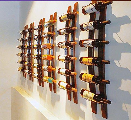 Wine Rack Barrel Stave Hanging Wine Rack Handcarved 6 Bottle Barrel Stave Wooden Wall Mounted Wine Rack Wine bottle holder (Browm, 36