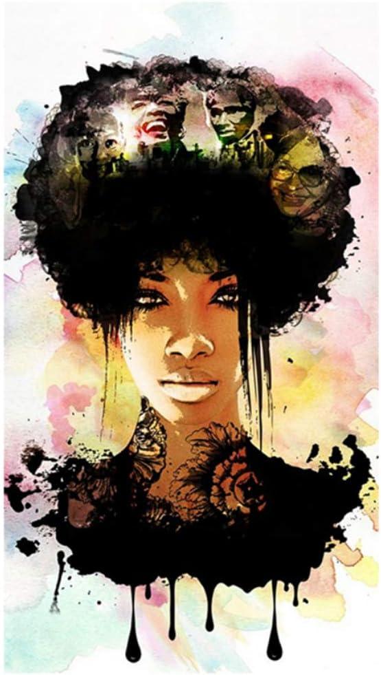 nr Pensamiento Mujeres Arte Lienzo Pintura al óleo Negro Niñas Arte de la Pared Carteles Impresiones Cuadro Moderno Abstracto para Sala de estar20x40 IN sin Marco