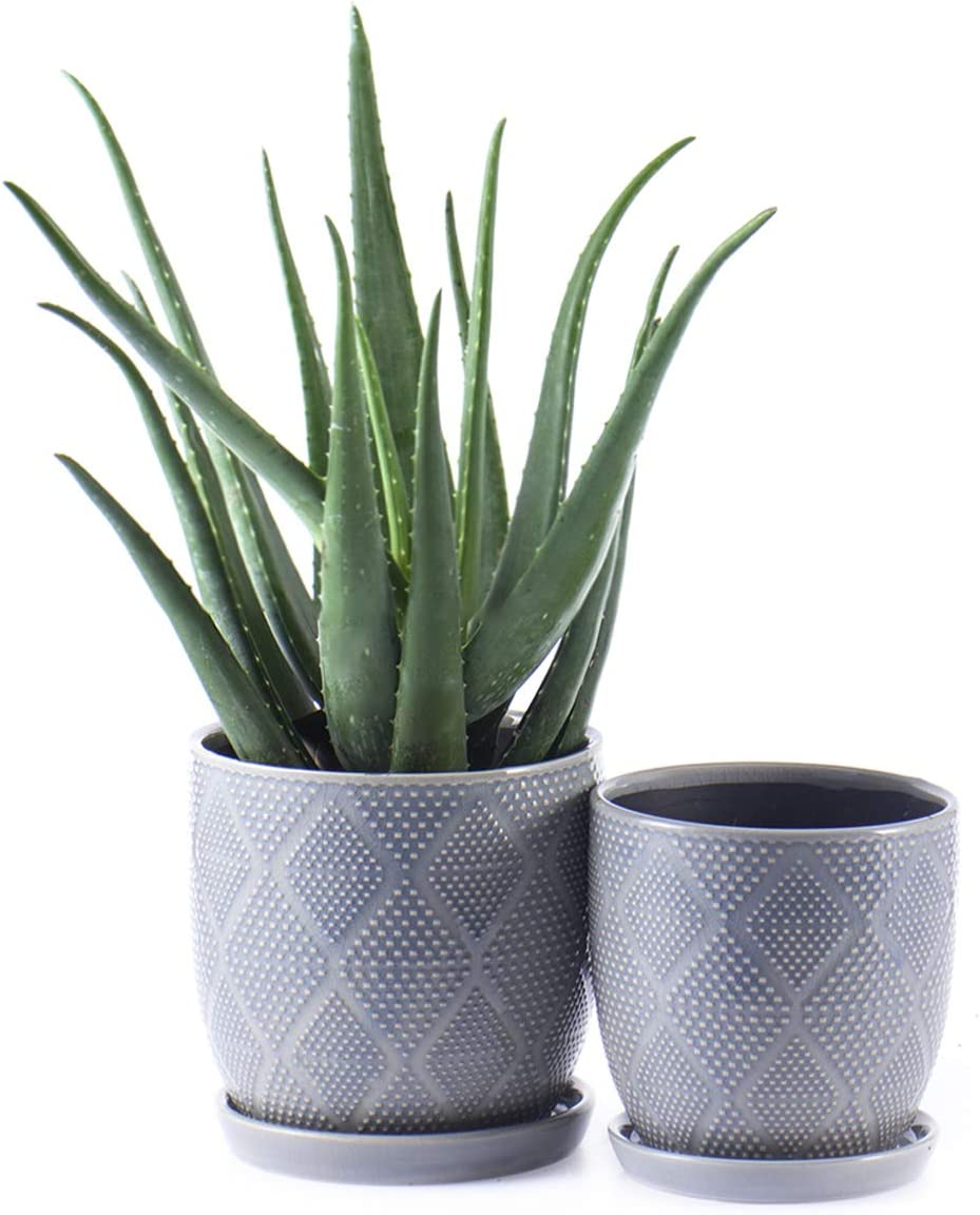 """KYY Ceramic Planters Garden Flower Pots with Drainage Holes and Saucers 6.5"""" and 5.5"""" Set of 2 Indoor Outdoor Modern Plant Containers (Blue Grey)"""