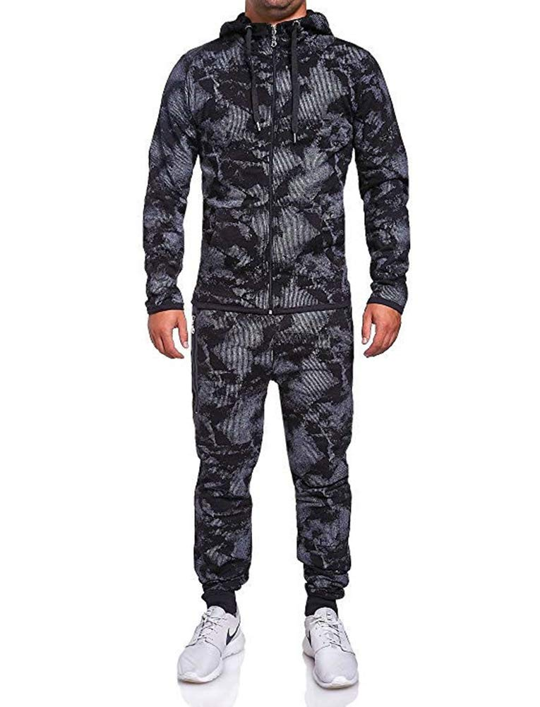 Mens Tracksuit Set Camouflage Hoodie Sweatshirt and Jogger Sweatpants Sports Suit for Jogger Running (Black A, 3XL) by WPNAKS