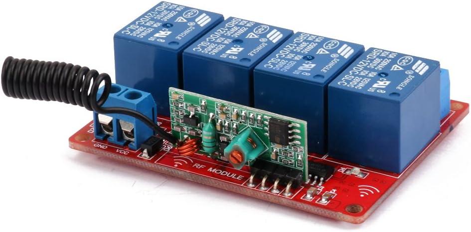 DC 12V Funkfernschalter Relais Modul Set RF Fernbedienung mit 4 Controller
