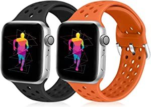Runostrich Sport Band Compatible with Apple Watch Band 44mm 42mm, Soft Silicone Replacement Breathable Strap Compatible iWatch SE Series 6 5 4 3 2 1 for Women Men (Black+Orange, 42mm/44mm)