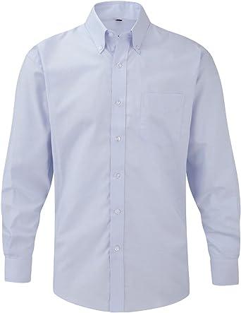 Russell Collection Hombre Camisa De Manga Larga, fácil