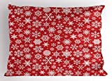 Ambesonne Red Pillow Sham, Various Different Snowflakes with Rich Details Festive Christmas Season in Wintertime, Decorative Standard Size Printed Pillowcase, 26 X 20 inches, Red White