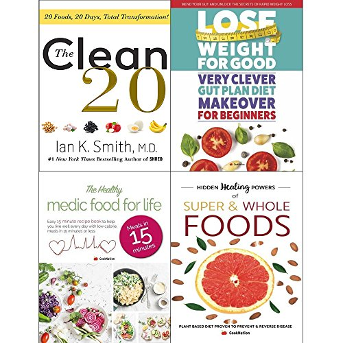 The Clean 20  Hardcover   Very Clever Gut Diet  Healthy Medic Food For Life And Hidden Healing Powers Of Super   Whole Foods 4 Books Collection Set