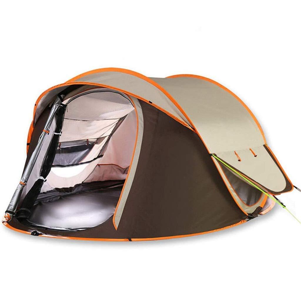 ドームを開くための2秒間の自動運転3-4人4年防水キャンプテント、2色 (色 : Brown)  Brown B07P5CV2CX
