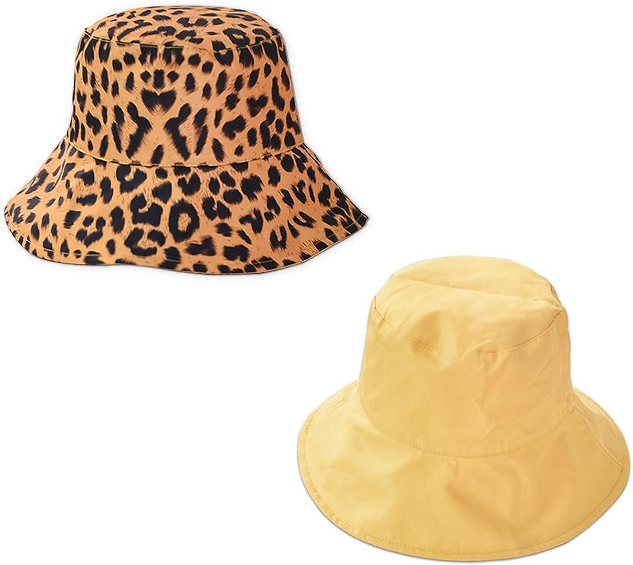 CHIC DIARY Faltbar Sonnenhut mit Leopard Muster Strandhut Beidseitig Tragbar UV Schutz Sommer M/ütze Fischerhut Damen M/ädchen