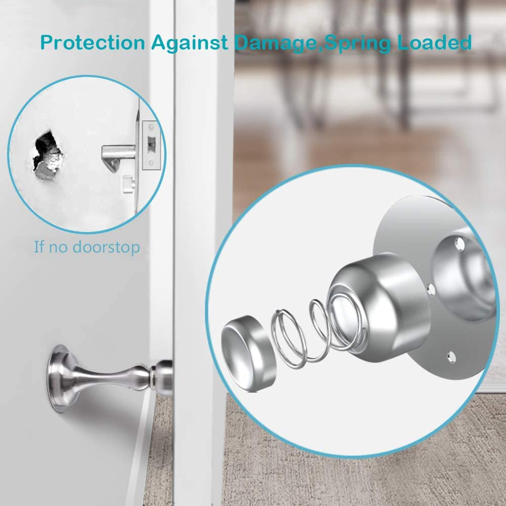 Bewelter 2 Pack Door Stoppers with Strong Magnet Stainless Steel Door Stop Holder No Drilling Magnetic Door Catch for Home Office Garage
