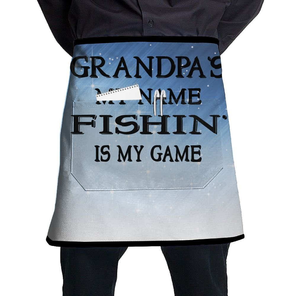 XiHuan Grill Aprons Kitchen Chef Bib Grandpa's My Name Fishing Is My Game Professional For BBQ Baking Cooking For Men Women Pockets