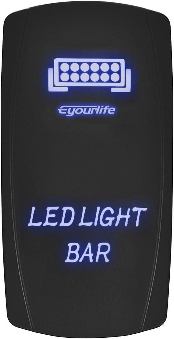 OFF GREEN Laser Etched LED Rocker Switch Dual Light 20A 12V ON Gun 1911