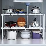 LayTmore Kitchen Sink Dish Rack,Adjustable 2 Tier Under Sink Shelf Kitchen Storage Organize Rack Holder
