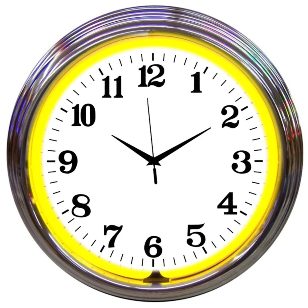 Neonetics Bar and Game Room Neon Alphanumeric Wall Clock with Yellow Neon and Chrome Rim, 15-Inch
