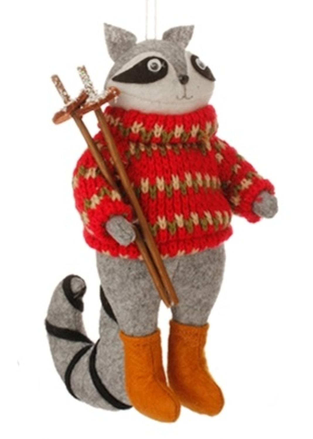 7'' Country Cabin Stuffed Animal Raccon with Red Sweater and Ski Poles Christmas Figure Ornament