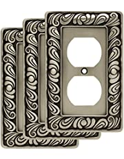 Franklin Brass 64044 Paisley Single Duplex Outlet Wall Plate/Switch Plate/Cover, Brushed Satin Pewter, 3-Pack