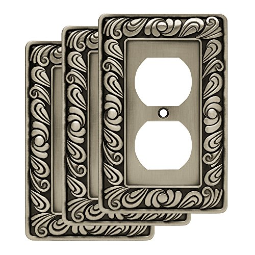 Franklin Brass W10110V-BSP-R Paisley single Duplex Outlet Wall Plate / Switch Plate / Cover, Brushed Satin Pewter, 3 Pack, Pewter Finish Single