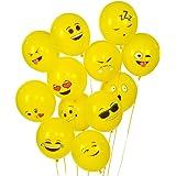 Turelifes Emoji Serie Ballons en latex visage Smiley Jolis Ballons, lot de 100, Jaune