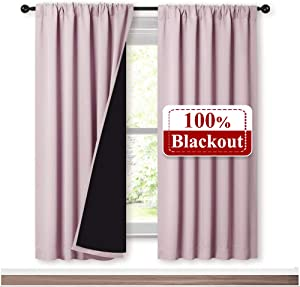 NICETOWN 100% Blackout Window Panel Curtains, Full Light Blocking Drapes with Black Liner for Nursery, 72 inches Drop Insulated Draperies (Lavender Pink, 2 Pieces, 52 inches Wide Per Panel)