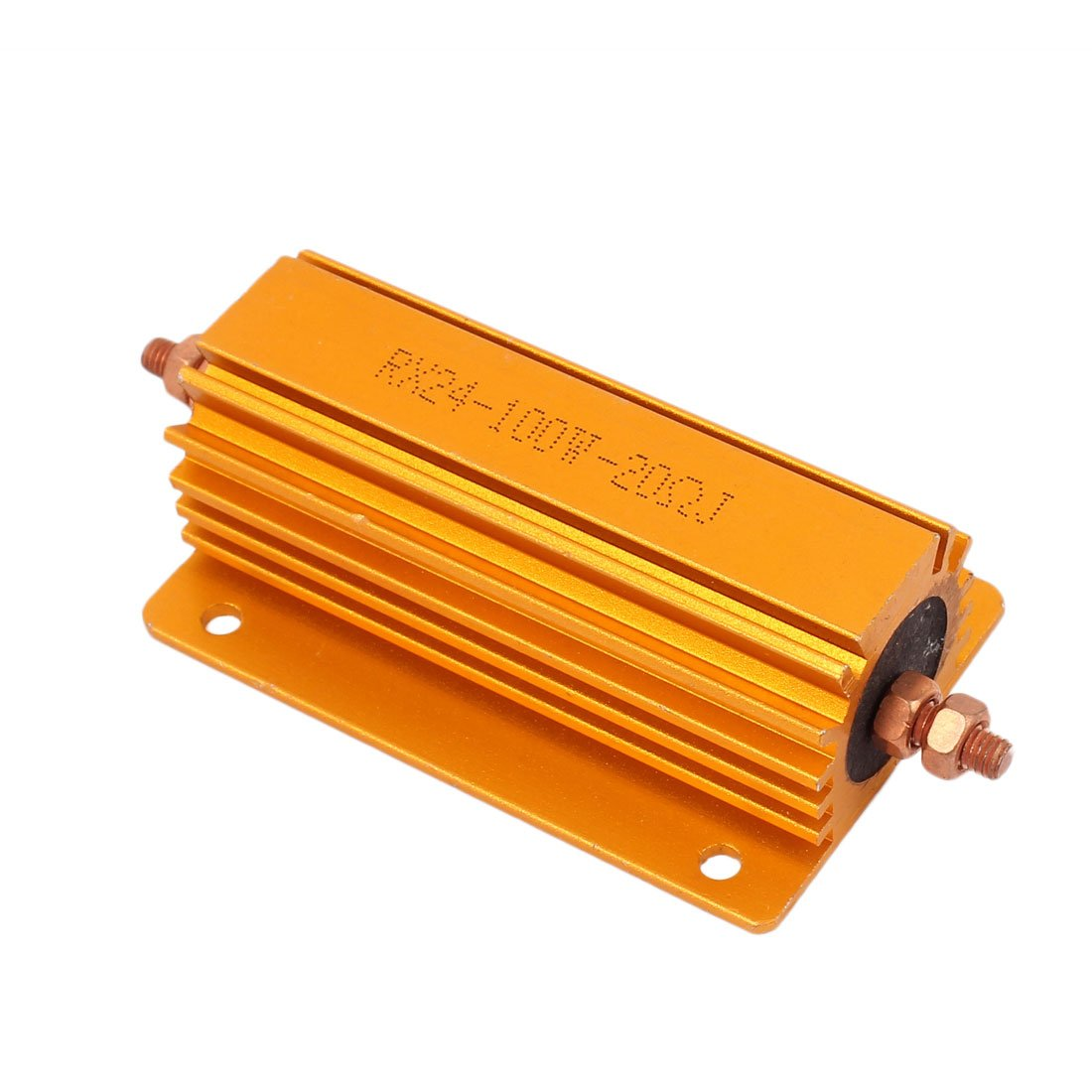 Uxcell a16092100ux1163 100W 20 Ohm Gold Tone Chassis Mounted Aluminum Shell Clad Resistor 2.009998 Width 3.15 Length