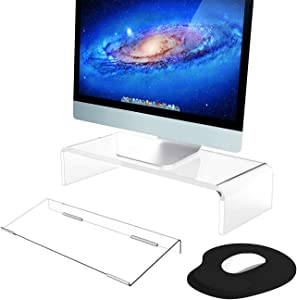 Acrylic Monitor Stand & Keyboard Stand, Clear Computer Monitor Riser with Sturdy, Hold up to 50lbs Desktop Monitor Stand for Home/Office/Gamers/Schools, Tilted Keyboard Riser for Ergonomic Easy Typing
