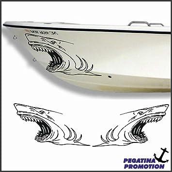 2 x weisser Hai weißer Haifisch Aufkleber aus Hochleistungsfolie ...