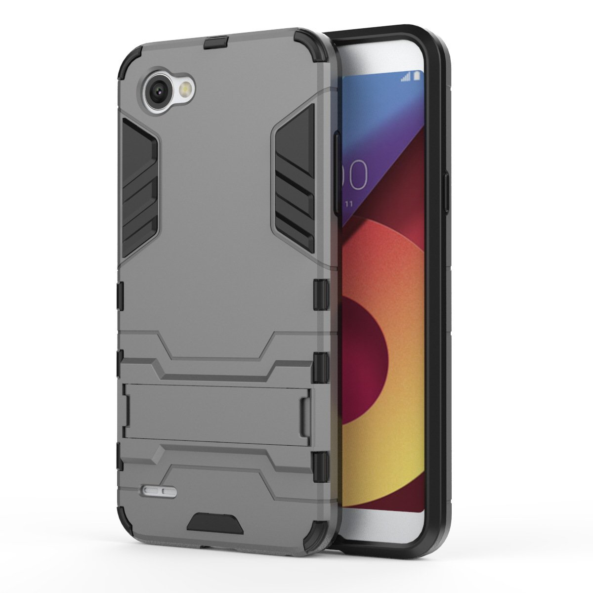 MaiJin Shockproof with Kickstand Feature Case for LG Q6 (5.5 inch) Hybrid Dual Layer Armor Defender Protective Cover (Grey)