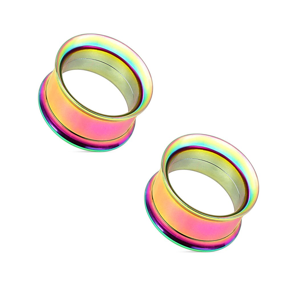 Pair of Double Flared Screw Fit Tunnel Plug Rainbow IP Over 316L Surgical Steel Earlets E534 8 Gauge to 1 Inch