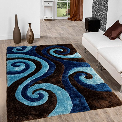 Allstar Brown Shaggy Area Rug with 3D Blue Spiral Design. Contemporary Formal Casual Hand Tufted (5' x 7') (Blue And Brown Rug compare prices)