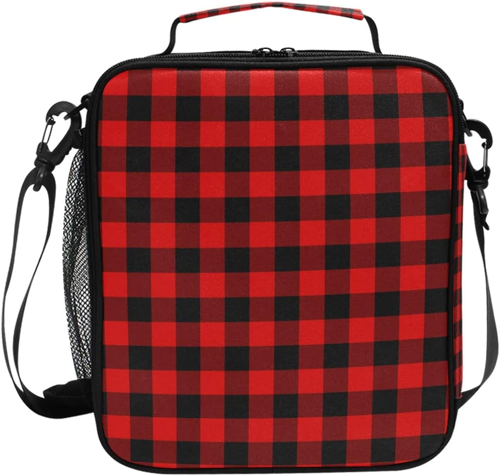 Lunch Box Bag Insulated Lunch Tote Rustic Black Red Buffalo Check Plaid Pattern Thermal Cooler Shoulder Strap Portable Food Container Travel Office School Picnic For Women Kids Children