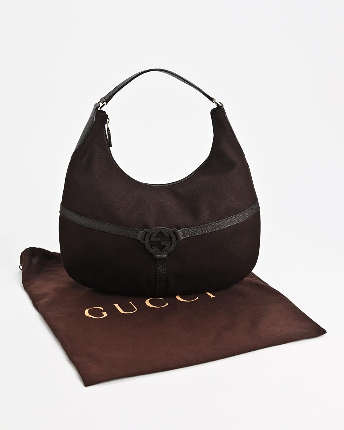 824b6a698b78 Amazon.com: Gucci Brown Reins Canvas Leather Hobo Bag: Shoes