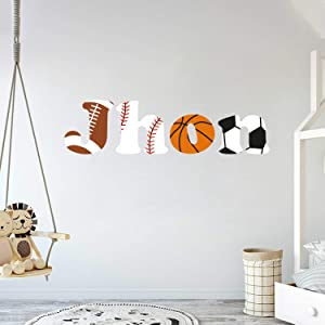 """e-Graphic Design Inc Custom Name Sports Balls - Baby Boy - Nursery Wall Decal for Baby Room Decorations - Mural Wall Decal Sticker for Home Children's Bedroom (J153) (Wide 20""""x5"""" Height)"""