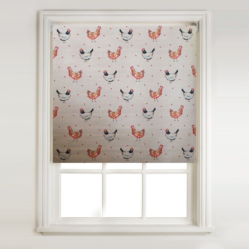 Country Chickens Thermal Blackout Roller Blind (width: 2ft (61cm)) Barnes Textiles