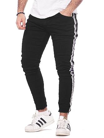 Top Qualität großer Rabatt damen Adrexx Herren Jeans Denim Hose Sport-Design Weiße-Streifen ...