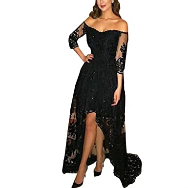 4153e5f6c Dimei Women's High Low Prom Dress Black Off Shoulder Wedding Maxi Dress  Half Sleeve Lace Long Evening Gown 2018 at Amazon Women's Clothing store: