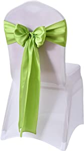 WEBEE Apple Green Satin Chair Sashes Bows for Wedding Reception Universal-10 PCS Chair Cover Back Tie Supplies for Banquet, Party, Hotel Event Decorations(Apple Green, 10PCS)