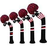 Scott Edward Knit Golf Head Covers 4 Pieces Pack Fit Over Well Driver Wood(460cc) Fairway Wood2 and Hybrid(UT) with…