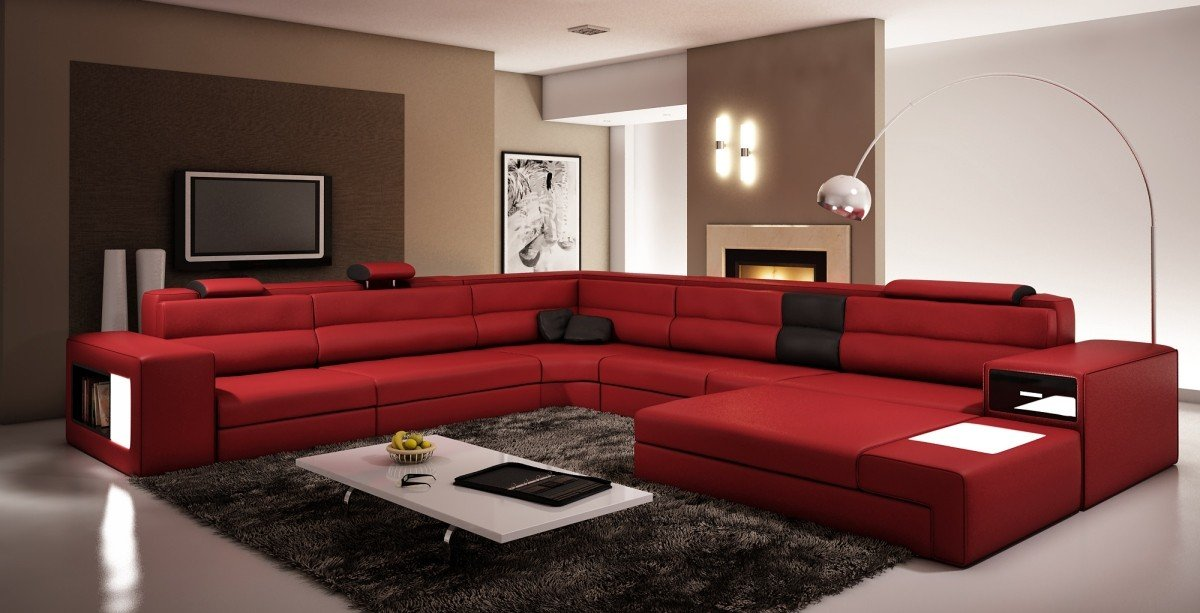 Amazon.com: VIG Furniture 5022 Polaris Red And Black Bonded Leather  Sectional Sofa: Kitchen U0026 Dining