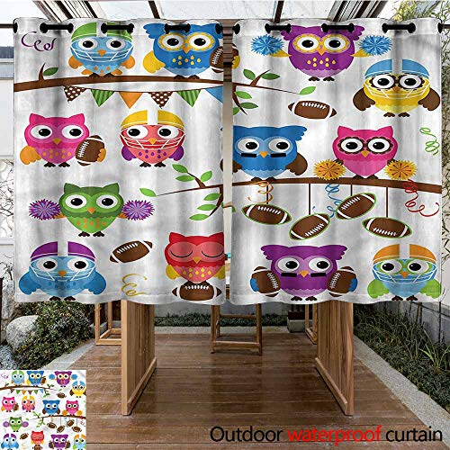 Sunnyhome Outdoor Grommet Top Curtain Panel Owls Cheerleader League Team Great for Living Rooms & Bedrooms W 55
