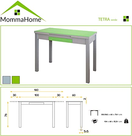 MOMMA HOME Mesa Extensible - Modelo Tetra - Color Verde/Plata ...