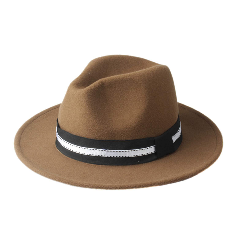 Autumn Winter Women Men Wool Fedora hat Wide Brim Jazz Church Cap Panama Top Hat with Black Ribbon