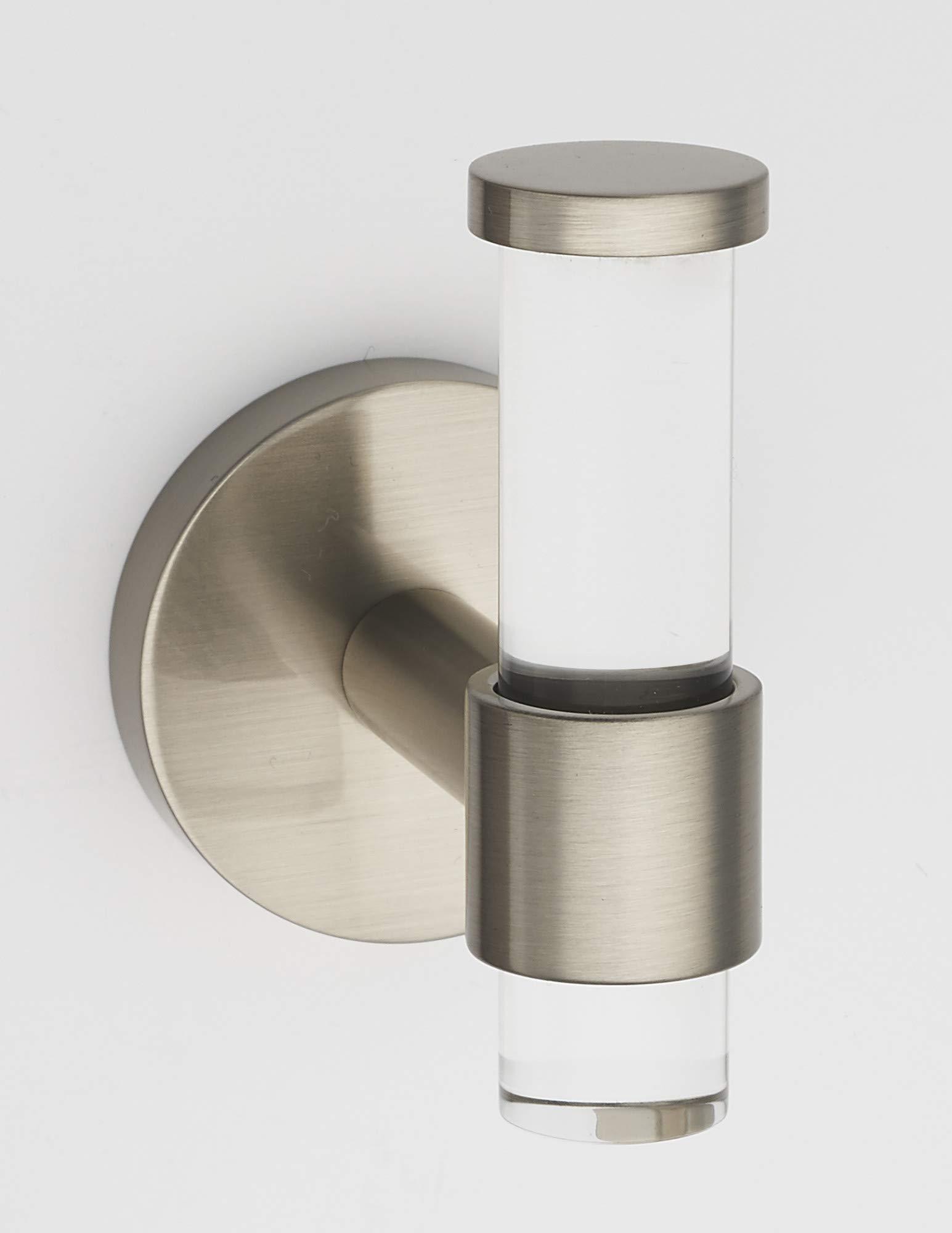 Alno A7281-SN Contemporary Acrylic 3-1/8 Inch Tall Single Prong Robe Hook