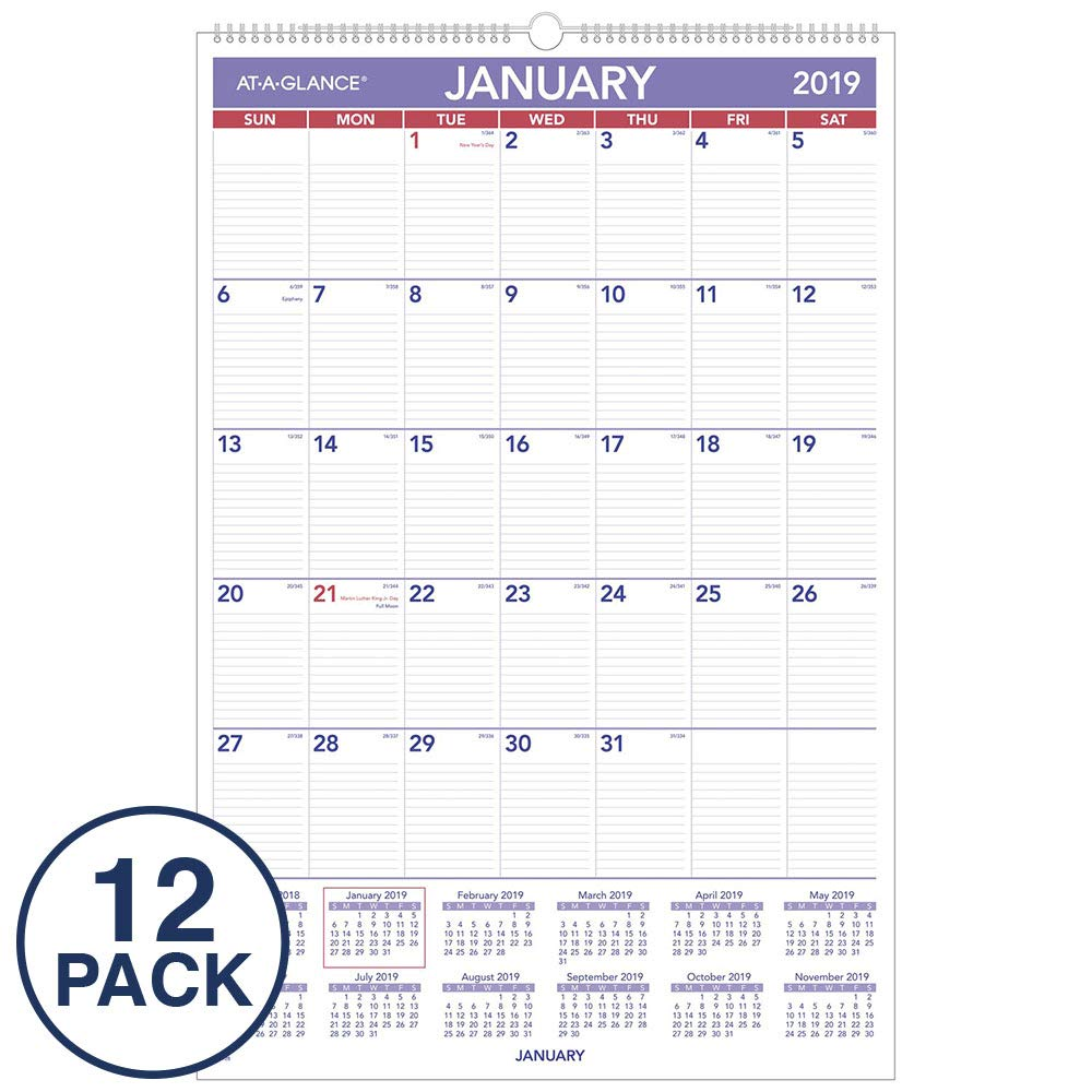 AT-A-GLANCE 2019 Monthly Wall Calendars, 20'' x 30'', XLarge, Wirebound, 12 Pack (PM4Z28)