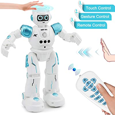 YITOOK Robot Toys for Kids - Rc Smart Programmable Remote Control Robots Rechargeable with Gesture Sensing,Walking,Talking,Singing,Dancing - Intelligent Toy Gift for Boys Girls (Blue): Toys & Games